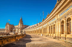 Spain Square (Plaza de Espana) is in the Maria Luisa Park, in Se. Spain Square (Plaza de Espana) is in the Maria Luisa Park, in Seville. It is a landmark Stock Images