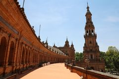 Spain Square Plaza de Espana in Seville, built on 1928, it is one example of the Regionalism Architecture mixing Renaissance stock photography