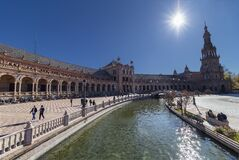 Spain Square Plaza de Espana, Seville, Spain, built on 1928, it is one example of the Regionalism Architecture mixing
