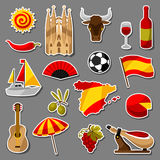 Spain sticker icons set. Spanish traditional symbols and objects Stock Image