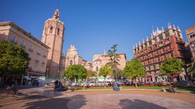 Spain sun light cathedral square panorama 4k time lapse. Sun light cathedral square panorama 4k time lapse spain stock video