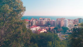 Spain sun light malaga bull ring traffic circle panoramic view 4k time lapse stock footage