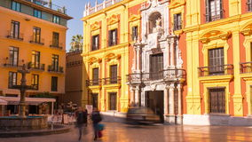 Spain sun light malaga city cathedral square 4k time lapse stock video