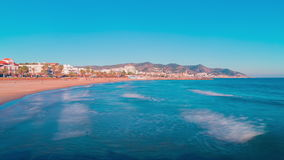 Spain sun light sitges town panorama 4k time lapse. Sun light sitges town panorama 4k time lapse spain stock video footage