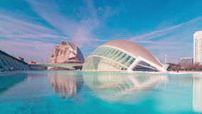 Spain sun light valencia city of arts and sciences panorama 4k time lapse stock footage