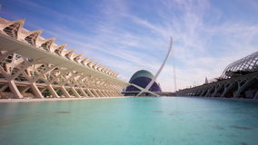Spain sun light valencia city of arts and sciences pond view 4k time lapse stock footage