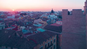 Spain sunset city view from torres de serranos 4k time lapse valencia stock video