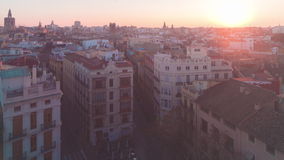 Spain sunset light fog traffic view valencia panorama 4k time lapse stock video footage