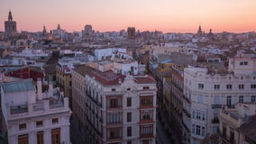 Spain sunset valencia city panorama from torres de serranos 4k time lapse stock video