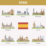 Spain. Symbols of cities. Vector set Stock Photos
