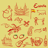 Spain symbols set. Spain symbols hand drawn  set Stock Image