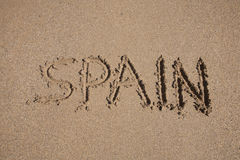 Spain on text in earth Stock Images