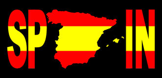 Spain text with map on flag Royalty Free Stock Photo