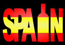 Spain text with wine bottle Stock Image