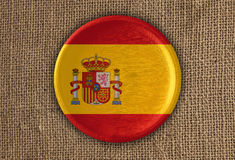 Spain Textured Round Flag wood on rough cloth Stock Photography