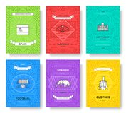 Spain thin line brochure cards set. Country template of flyear, magazines, posters, book cover, banners. Travel outline. Invitation concept background. Layout Royalty Free Stock Images