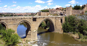 Spain. Toledo. Spain. Alcantara bridge in the ancient city of Toledo. Toledo was the capital of Spain until 1561, and then gave way to the title to Madrid Royalty Free Stock Photo