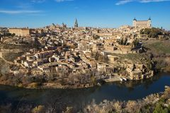 spain Toledo Widok z lotu ptaka średniowieczny miasto Toledo w Grudniu Zdjęcia Stock
