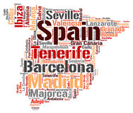 Spain top travel destinations word cloud. Spain map silhouette word cloud with most popular travel destinations Stock Image