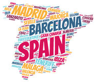 Spain top travel destinations word cloud. Spain map silhouette word cloud with most popular travel destinations Stock Photos