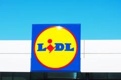SPAIN- Torrevieja, ALICANTE - JUNE 02, 2019: Big full size close up brand logo of european chain retailer supermarket LIDL. SPAIN- Torrevieja, ALICANTE - JUNE 02 royalty free stock photo