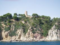 Spain, Tossa del Mar. Spain, town Tossa del Mar, castle on the rock on sea cost Stock Photo