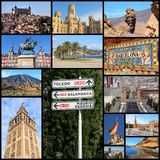 Spain. Travel collage from Spain. Collage includes famous places like Madrid, Barcelona, Toledo, Seville, Malaga and Tenerife Stock Images