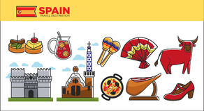 Spain travel destination promotional poster with country symbols Royalty Free Stock Photo