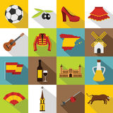 Spain travel icons set, flat style Stock Photos