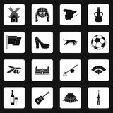 Spain travel icons set squares vector Royalty Free Stock Photo