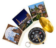 Spain travel images and compass (my photos) Royalty Free Stock Image