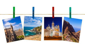 Spain travel photography on clothespins Royalty Free Stock Photography
