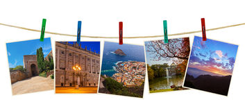 Spain travel photography on clothespins Royalty Free Stock Photo