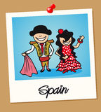 Spain travel polaroid people Stock Photos