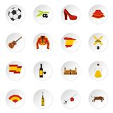 Spain travel set flat icons Royalty Free Stock Photography