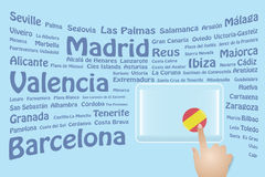 Spain Travel Touch Screen Royalty Free Stock Images