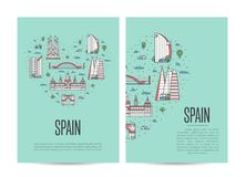 Spain travel tour booklet set in linear style Stock Images