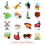 Spain For Travelers Cultural Symbols Set Stock Images