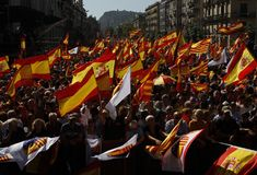 Spain unity manifestation in Barcelona royalty free stock photography