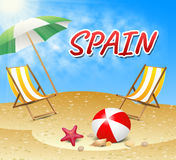 Spain Vacations Represents Hot Sunshine And Seaside Royalty Free Stock Photos