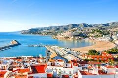 spain Valência, Peniscola Vista do mar de uma altura do castelo do ` s do papa Luna Imagem de Stock