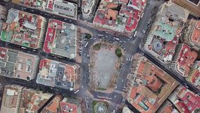 Spain, Valencia aerial shooting, bird-eye view on red roofs, roads and squares. Spain, Valencia aerial shooting, bird-eye view on red roofs and squares, and stock video