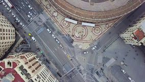 Spain, Valencia aerial shooting, bird-eye view on red roofs, roads and squares. Spain, Valencia aerial shooting, bird-eye view on red roofs and squares, and stock footage