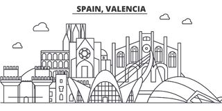 Spain, Valencia architecture line skyline illustration. Linear vector cityscape with famous landmarks, city sights. Design icons. Editable strokes Royalty Free Stock Photos