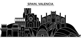 Spain, Valencia architecture vector city skyline, travel cityscape with landmarks, buildings, isolated sights on. Spain, Valencia architecture vector city Stock Photo