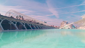 Spain valencia blue sky city oa arts and sciences pond panorama 4k time lapse stock video footage