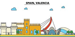 Spain, Valencia. City skyline architecture . Editable. Spain, Valencia. City skyline architecture, buildings, streets, silhouette, landscape, panorama landmarks Stock Photos