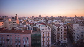 Spain valencia city sunset panorama from the roof top 4k time lapse. Valencia city sunset panorama from the roof top 4k time lapse spain stock video footage