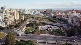 SPAIN, VALENCIA - FEBRUARY, 14 2018 City of arts and scients, aerial shooting. View from the center of Valencia to City of arts from drone, sunny day panorama stock footage