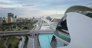 SPAIN, VALENCIA - FEBRUARY, 14 2018 City of arts and scients, aerial shooting. Sunny day panorama stock footage